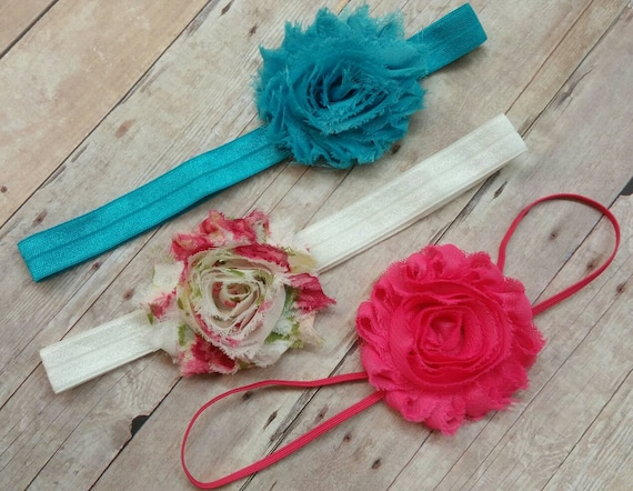 Shabby Chic Headband Set, Fuchsia Headband, Floral Headband, Aqua Headband, Infant Girl Headbands,Newborn Girl Headbands, Baby Girl Gift