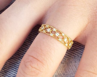 Gold Lattice Milgrain cz diamond eternity ring CZ sterling silver gold plated milgrain eternity lattice gold stacking band