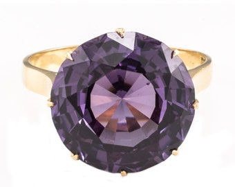 18K Spinel Ring Synthetic Color Change Yellow Gold