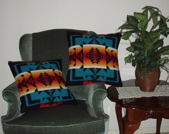 Pair of Classic Chief Joseph Pendleton® Wool Pillows - 16x16 - Hand made from new Pendleton® Wool
