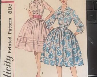 Vintage 60's Simplicity 3274 Shirtwaist Dress Pattern-Size 12 (32-25-34)