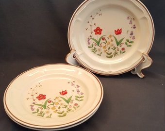 "Set of 3 Vintage Newcor Stoneware 7.5"" Plates Spring Garden 1986 Made in Thailand"