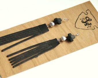 Black Leather Fringe and Beaded Earrings