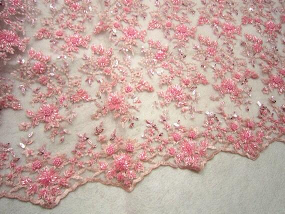 Favori Rosa ricamo pizzo perline tessuto tessuto di pizzo con SS19