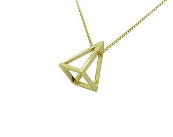 Pyramid pendant necklace, Silver necklace, Gold necklace, Rose Gold, Long Pendant
