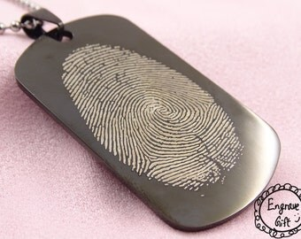 Personalized Finger Print Engaving Army Wift Gift Necklace Keyring, deployment, gift for her, gift for him, gift for father and monther