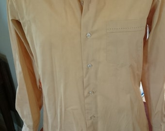 Vintage 1970s Fruit of the Loom Wing Collar Tan Shirt with Topstitching/ Brady Bunch Shirt/ Halloween Costume/