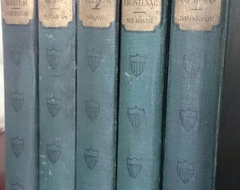 Collection of 5 Antique The American Classical Romances/ Dark Green Books/early 1900's
