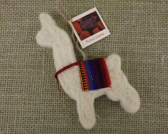 Needle-Felted Llama Ornament