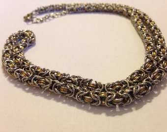 Silver and Brass Byzantine Chainmaille necklace