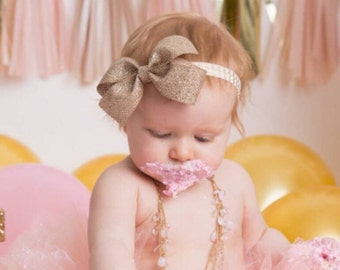 Glittery Gold & Pink Headband- Pink and Gold Chevron Headband, Baby Headband, Toddler Headband, Glitter Headband, Glitter Bow
