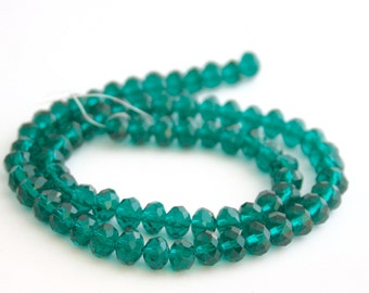 Rondelle Loose Beads, 6x4mm - 30 beads - Jewellery Making Supplies - Swarovski Green Crystal Beads