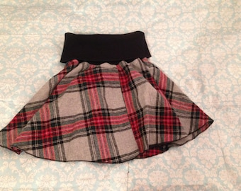 Red and Blue Plaid Circle Skirt