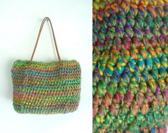 90s Colorful Crocheted Soft Purse, Crocheted Purse, Handbag, Sweater Purse, Soft Purse, 1990s Colorful Purse, Multicolored, Hand Crocheted