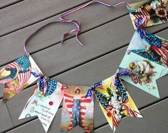 4th of July Bunting Banner, Patriotic, Red White and Blue