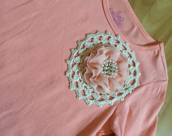 Girls Size6 Coral Hand Embellished Top