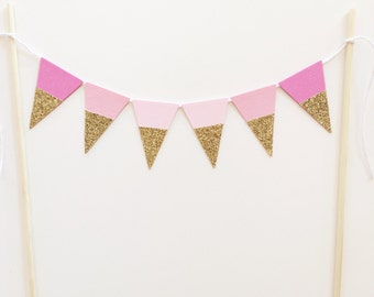 Bunting Cake Topper - Gold Glitter, Pink Ombré  Triangles Birthday Party