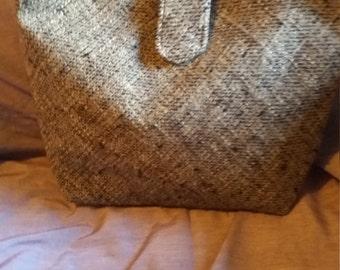 Sale 1/2 price Wool tweed brown handbag