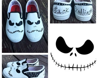 Jack Skellington inspired shoes, Nightmare before christmas, disney shoes, Ghost, custom painted shoes, character shoes, toddlers shoes