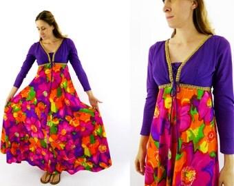 1970's Empire Waist Purple Floral Psychedelic Dress Size Medium