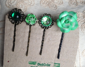 SALE: Green hair pins, decorative hair pins green, green hair pins, green hair pins, green hair pins, st patricks day hair pins, green