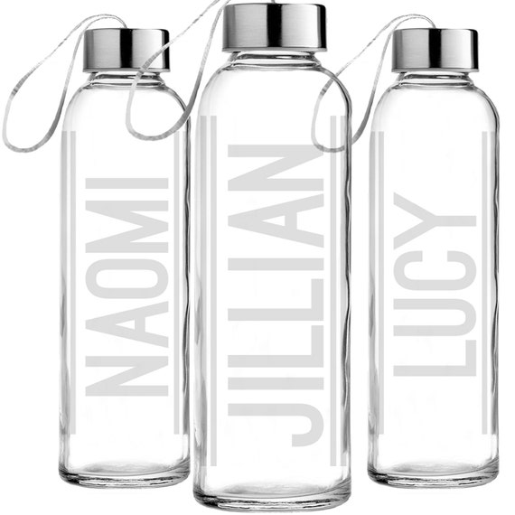 Custom etched glass water bottle personalized glass by for Unique glass bottles
