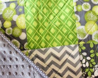 Modern Baby Blanket, Toddler Blanket, Green and Gray Quilt