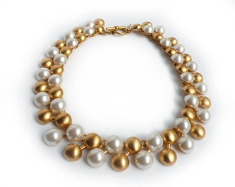 Talbots Matte Gold and Faux Pearl Couture Necklace