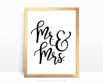 SALE -  Mr And Mrs, Wedding Gift, Wedding Anniversary, Couple Gift Idea, Marriage, Love Poster, Black White, Modern Handlettering