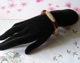 Bracelet bakelite with burning celluloid - lucite marble-bakelite Bangle bracelet - jewelry 30