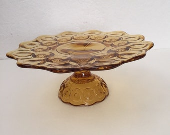 Vintage LG Wright moon and stars amber cake plate