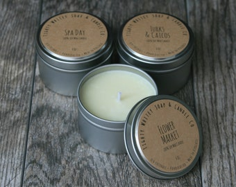 Candle Tin Set, Pick 3 - Make a custom trio of your favorite eco-friendly soy-wax scented candles & save - Handmade, Handcrafted, Artisanal