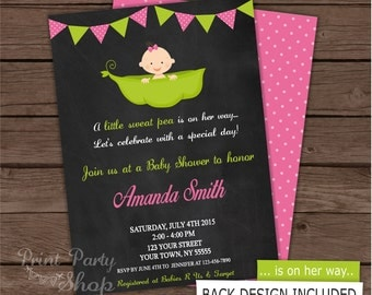 Pea Baby Shower Invitation /Pea in a pod / Baby shower invitation / Printable Invitation
