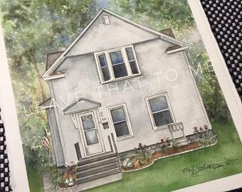 """8"""" x 10"""" Custom Watercolor House Rendering"""