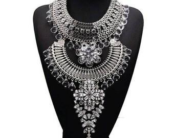 maxi necklace statement,boho necklace, handmade  necklace bohemio,necklace otomano,necklace etnic,necklace bib,necklace silver
