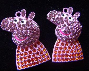 Pink Pig  Rhinestone Pendant Charms For Chunky Bead Pendants.  Rhinestone Charm 37mmx 26mm CLEARANCE SALE