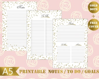 A5 Gold dots Printable notes insert|Gold to do printable|monthly goals printable|A5 Gold insert|A5 todo list printable|Gold notes printable