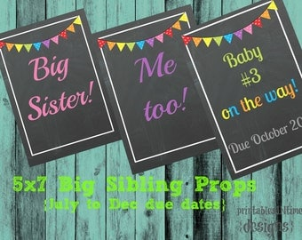 Big Sibling Signs- Pregnancy announcement- 5x7 - big sisters - instant download