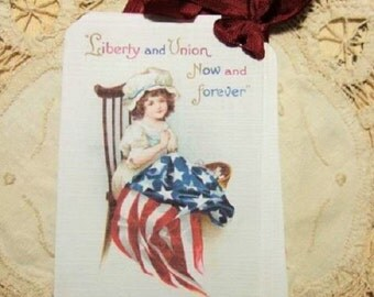 FOUR Vintage Little Besty Ross Americana Patriotic hang tags / Gift tags