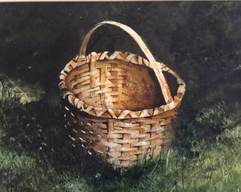 "gift, Landscape Watercolor ""The Gathering""  painting of a basket,basket painting, Original Art, Traditional art,watercolor"