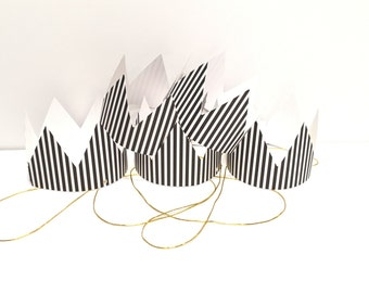 Black and White Party Hats Mini Party Crowns
