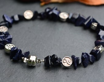 Blue goldstone yin and yang bracelet