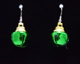 Festive green bell earrings.