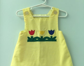 12 month, Vintage Classic Baby Clothes, Yellow Checked Shift Dress with Tulip Applique
