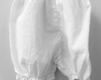 3 month, Classic Baby Bloomers, Solid White with Ruffled Hem