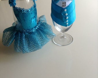 Decorated Champagne Glasses for Sweet 16, Prom or Quincerea
