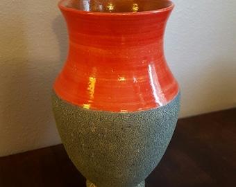 Wheel thrown  handmade ceramic stoneware vase