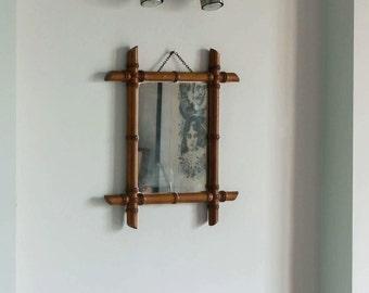 Small mirror rattan