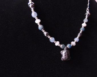 Apatite, Aquamarine, Hematite & Sterling Silver Turtle Necklace