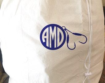 Monogrammed Large Laundry Bag - Fishing Design